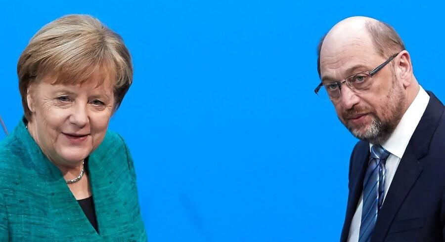 Angela Merkel får endnu en periode som tysk kansler i samarbejde med socialdemokraternes Martin Schulz.