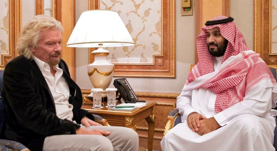 Den kendte britiske entrepenør og stifter af Virgin, Sir Richard Branson, til møde med den Saudi-Arabiske kronprins Mohammed bin Salman.