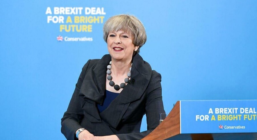 Den britiske premierminister, Theresa May, prøvede torsdag at flytte valgkampens fokus over på Brexit ved at sige, at Storbritannien kan få en strålende fremtid uden for EU. Foto: Chris J. Ratcliffe/EPA