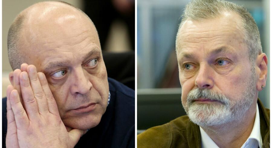 Gjermund Cappelen tv. er sammen med tidligere politileder Eirik Jensen th. tiltalt for grov korruption, og så anklages de for sammen at have importeret flere ton hash til Norge.