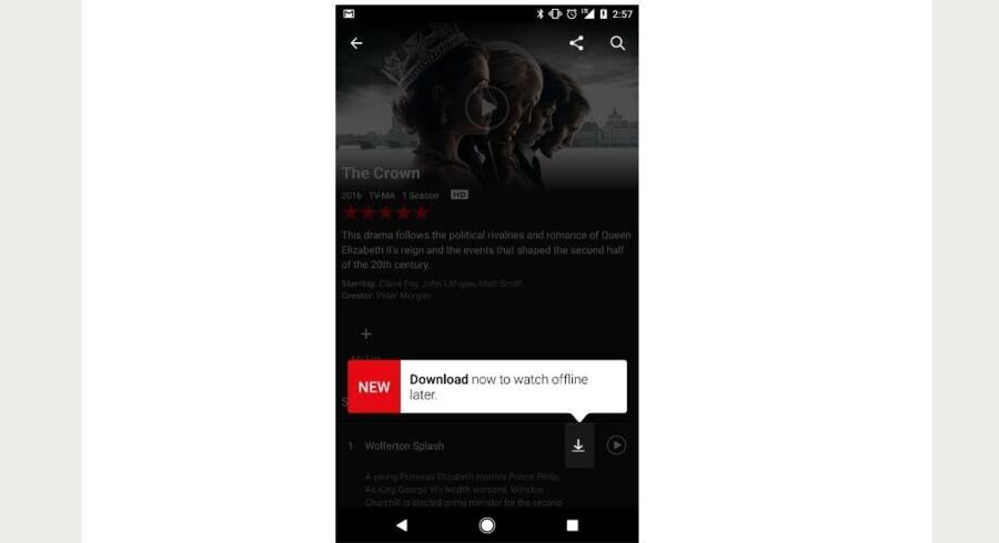 På Android- og iOS-udstyr kan man nu - hvis man opdaterer sin Netflix-app - downloade udvalgte film og afsnit, så man kan se dem uden at have internetforbindelse.