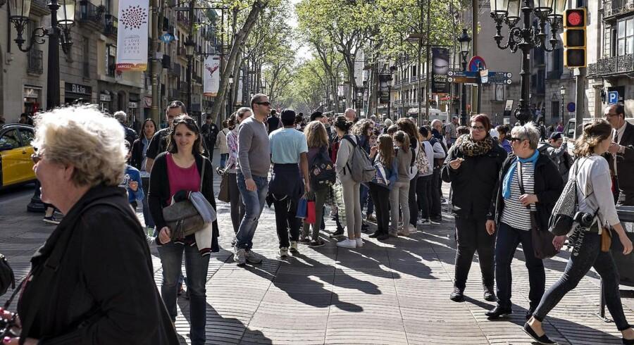 Barcelona , Catalonien , her Ramblaen, La Rambla, der berømte centrale gade