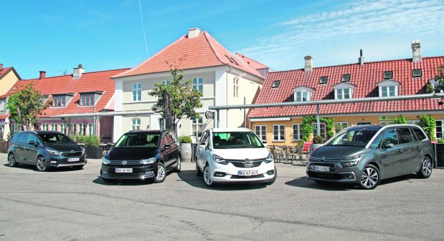 Det her er de fire bedste syvpersoners MPV'er på det danske marked lige nu: Kia Carens, Volkswagen Touran, Opel Zafira og Citroën Grand C4 Picasso. De udgør finalefeltet i Årets Bedste MPV 2017.