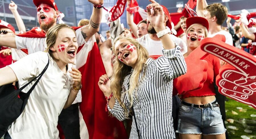 Der var gang i den i Telia Parken lørdag, da Danmark spillede sin første kamp ved VM mod Peru. I dag går det løs mod Australien kl. 14. (foto: Martin Sylvest/Scanpix Ritzau 2018)