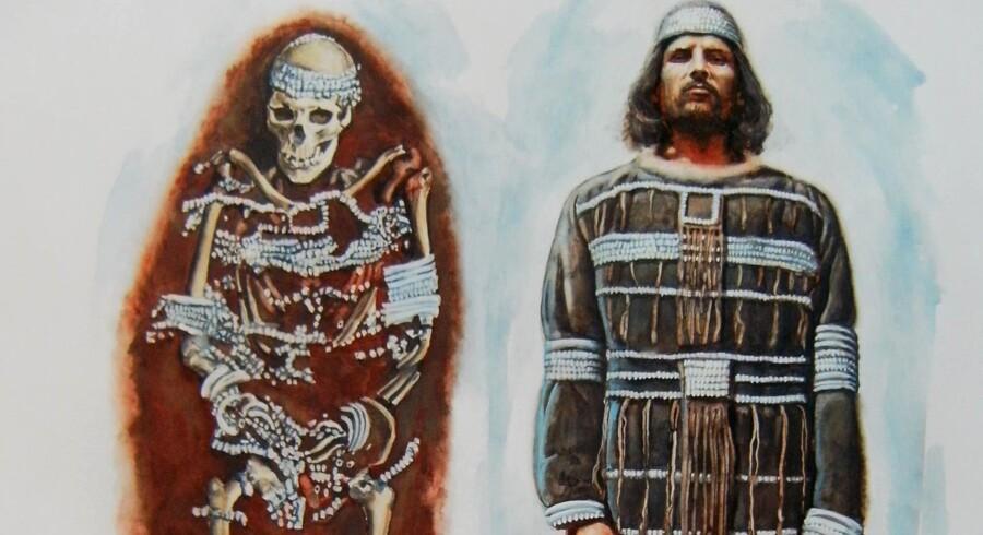 Illustration af den enestående og ca. 34.000 år gamle begravelsesplads fra Sunghir øst for Moskva.