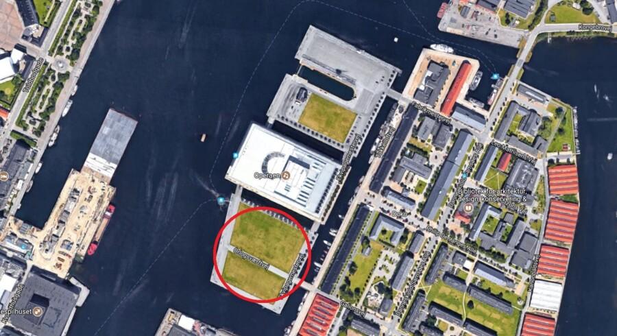 Screen dump fra Google Maps. Berlingske har med rødt markeret Sydøen på Dokøen, hvor det er planen, at den nye offentlige park skal ligge.