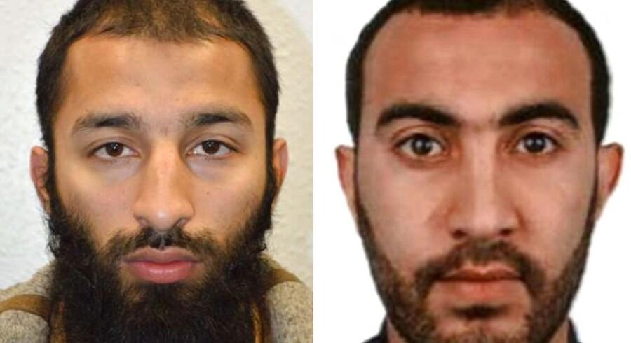 Billeder frigivet af British Metropolitan Police Service af Khuram Shazad Butt (til venstre) og Rachid Redouane.