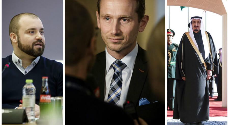 Udenrigsminister Kristian Jensen (V) forsvarede det officielle besøg i Saudi-Arabien over for blandt andre Enhedslistens udenrigsordfører, Nikolaj Villumsen. Til højre ses Saudi-Arabiens konge Salman bin Abdulaziz al-Saud.