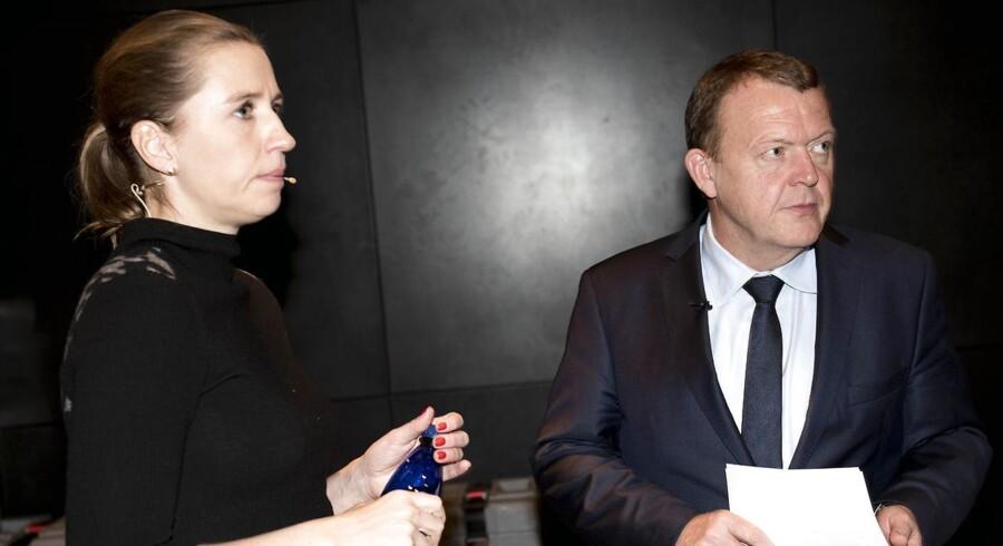 ARKIVFOTO 2015 Statsminister Lars Løkke Rasmussen (V) og Mette Frederiksen (S).