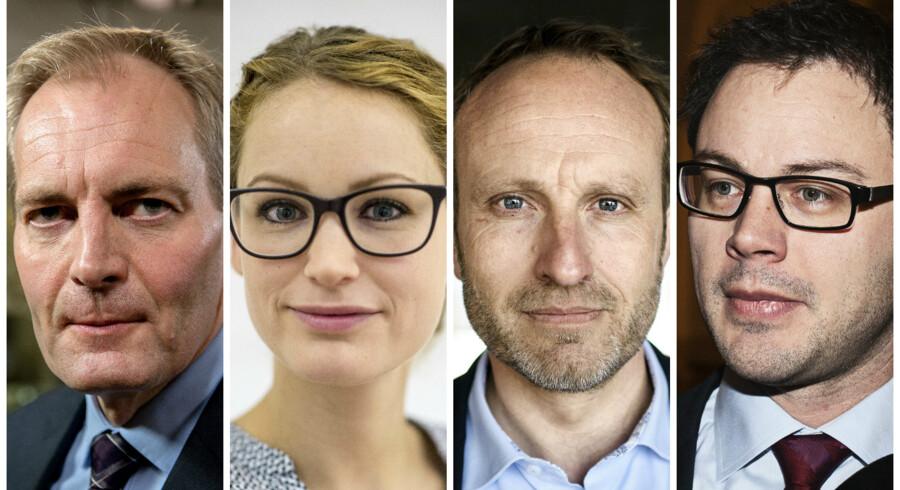 Peter Skaarup (DF), Pernille Skipper (EL), Martin Lidegaard (R) og Jonas Dahl (SF).