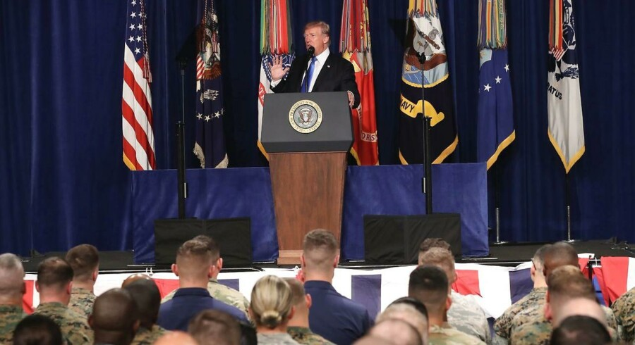 epa06155621 US President Donald J. Trump delivers remarks on America's military involvement in Afghanistan at the Fort Myer military base in Arlington, Virginia, USA, 21 August 2017. Trump was expected to announce a modest increase in troop levels in Afghanistan, the result of a growing concern by the Pentagon over setbacks on the battlefield for the Afghan military against Taliban and al-Qaeda forces. EPA/MARK WILSON / POOL