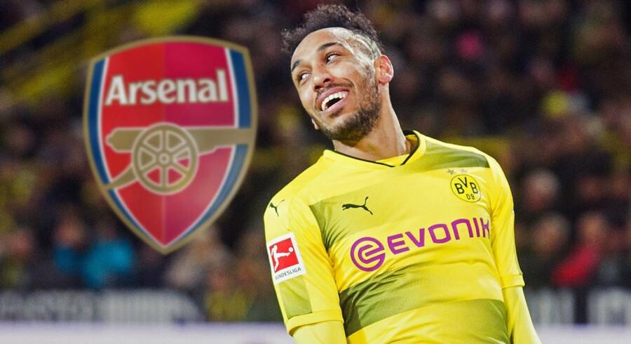 Borussia Dortmund-angriberen Pierre-Emerick Aubameyang kan være på vej til Arsenal. Arkivfoto.