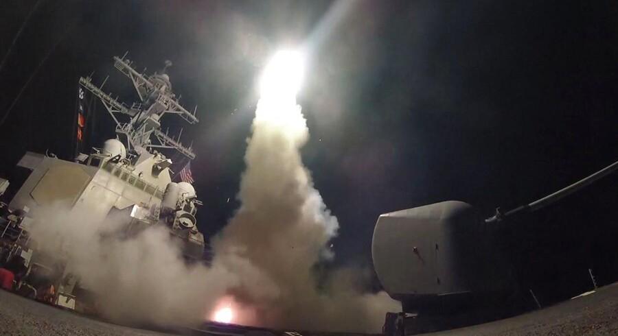 Amerikanske Tomahawk-missiler blev sidste året affyret mod en syrisk luftbase. Arkivfoto.