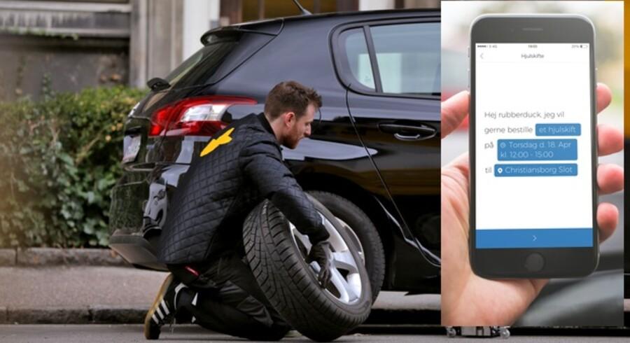 I Rubberducks app - lige nu kun til Apple-telefoner men om få måneder også til Android-telefoner - booker man mekanikeren, som så ruller ud og skifter fra vinter- til sommerdæk (eller omvendt) hjemme hos én selv eller på arbejdspladsen. Foto: Mark Thyrring, Rubberduck