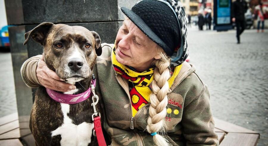 Marlene 'Malle' Granild og hunden MJ er hjemløse og holder til på Christianshavns Torv. Hun var til stede, da der mandag aften opstod slåskamp mellem en gruppe danske hjemløse og en gruppe udenlandske.