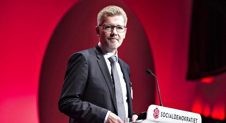 Socialdemokratiet fortsatte søndag d. 17. september deres 2-dages kongres i Aalborg Kongres og Kulturcenter . Her taler som den første næstformand og overborgmester i København Frank Jensen. (foto: Henning Bagger / Scanpix 2017)