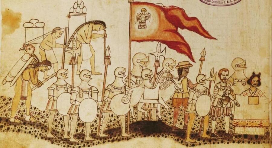 Den spanske erobrer Hernán Cortés går i spidsen for sine tungtbevæbnede krigere, fulgt af indianske bærere, ved aztekerrigets erobring 1519. I de følgende år døde aztekerne i hobevis af europæernes sygdomme.