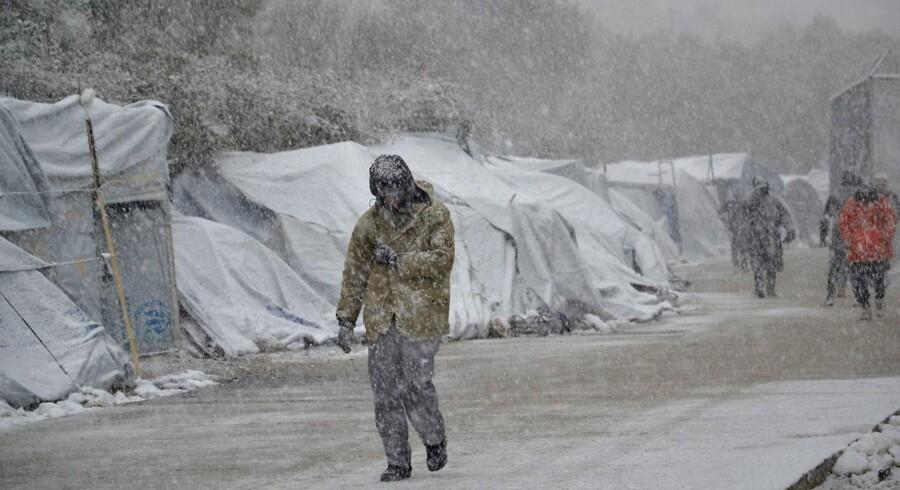 Det er lejre som denne på den græske ø Lesbos, som Amnesty International siger har »usle og farlige forhold«. Her et billede fra januar 2017. EPA/STRATIS BALASKAS
