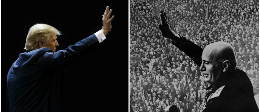 Donald Trump og Benito Mussolini.
