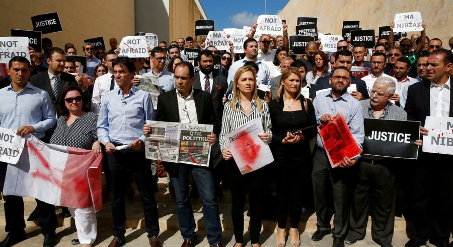 Demonstrerende journalister i Valletta på Malta.