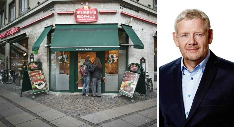 Jensen's Bøfhus er i pengenød. Derfor sælger ejeren af den kendte bøfrestaurant, Palle Skov Jensen, nu den del af sin koncern, der producerer saucer. Køberen er fødevarevirksomheden Stryhn's, der er bedst kendt for at producere leverpostej.