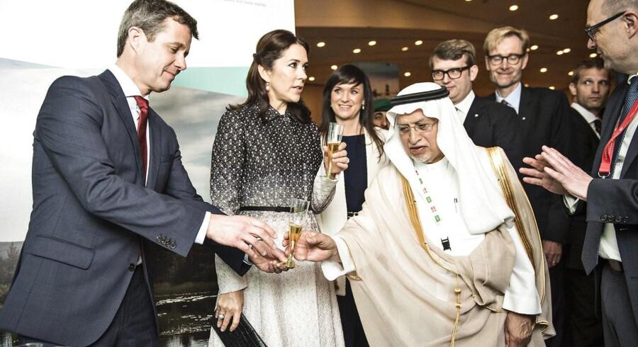 Kronprinseparret fotograferet i februar i Riyad, Saudi-Arabien i anledning af Danmarks handelsfremstød, hvor bl.a. erhvervs- og vækstminister Troels Lund Poulsen, sundhedsminister Sophie Løhde samt kronprins Frederik og kronprinsesse Mary deltog.