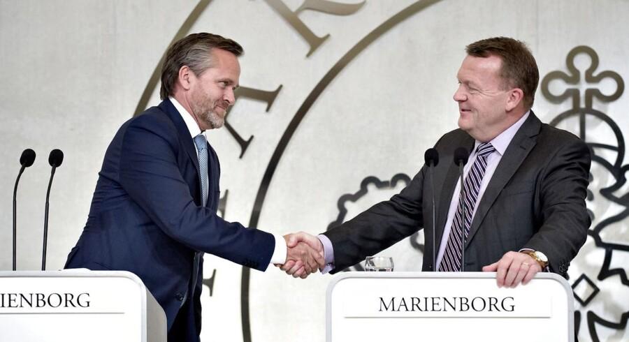 Nyt regeringsgrundlag præsenteres på Marienborg. Lars Løkke, Søren Pape og Anders Samuelsen. (Foto: Keld Navntoft/Scanpix 2016)