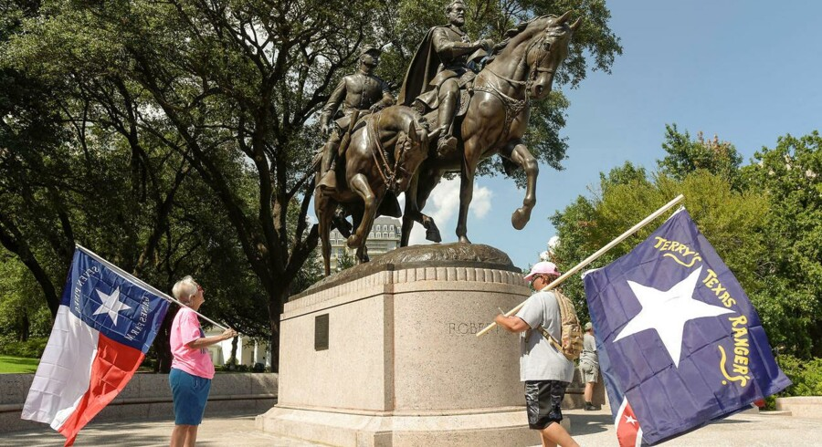 Statue af Robert E. Lee in Dallas, som var en af de fremtrædende sydstatsledere fra borgerkrigen.