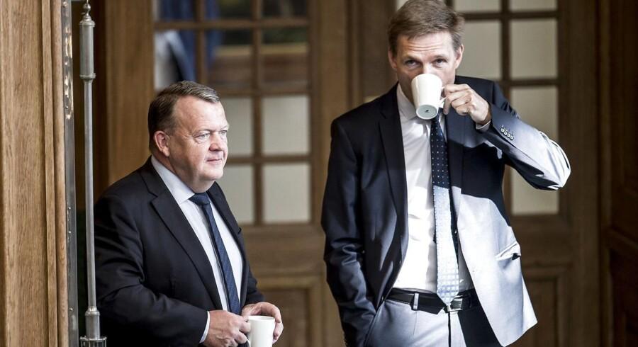 Statsminister Lars Løkke Rasmussen (V) og Kristian Thulesen Dahl (DF) under Folketingets afslutningsdebat på Christiansborg i København, onsdag den 30. maj 2018.