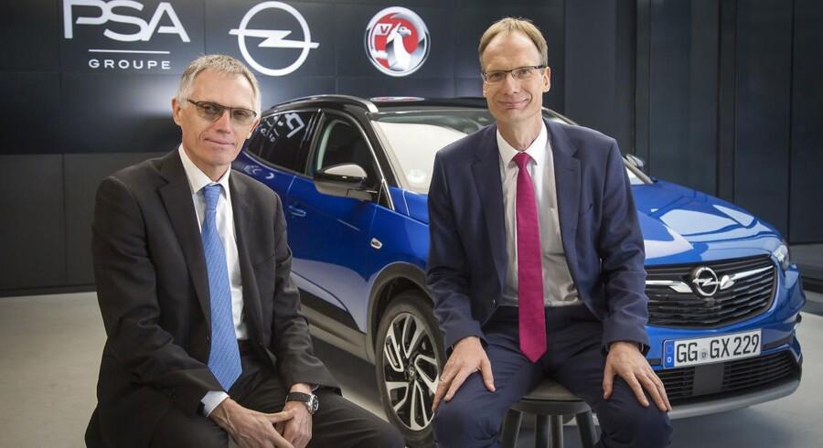 CEO for PSA Groupe, Carlos Tavares, og CEO for Opel, Michael Lohscheller, skal sammen føre Opel til vækst og sorte tal på bundlinjen. I løbet af fem år skal Opel eksporteres til 20 nye markeder