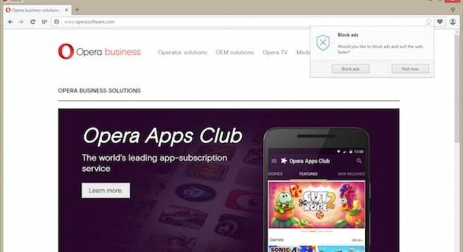 Nu får man mulighed for at blokere for annoncevisningen i Opera - dog endnu kun i udviklerudgaven af internetbrowseren. Den endelige version kommer senere. Foto: Opera