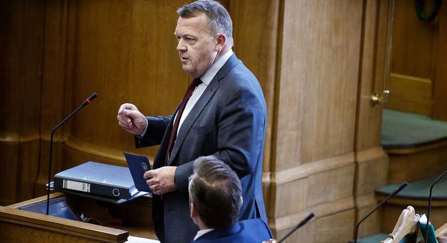 Statsminister Lars Løkke Rasmussen (V) under spørgetime i Folketinget.
