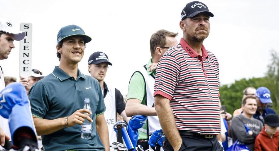 Golfstjernerne Thorbjørn Olesen og Thomas Bjørn deltag lørdag i golfturneringen AON Private Masters. Her spillede de to golfspillere en direkte duel mod to svenske golfspillere.