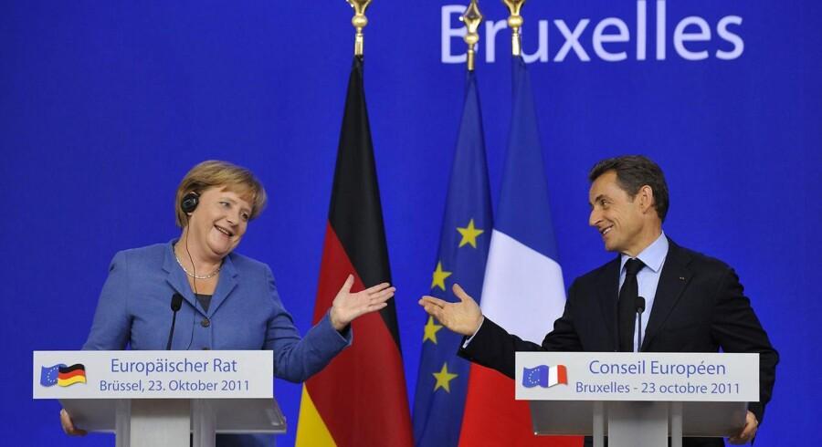 Tysklands kansler Angela Merkel og Frankrigs præsident Nicolas Sarkozy.