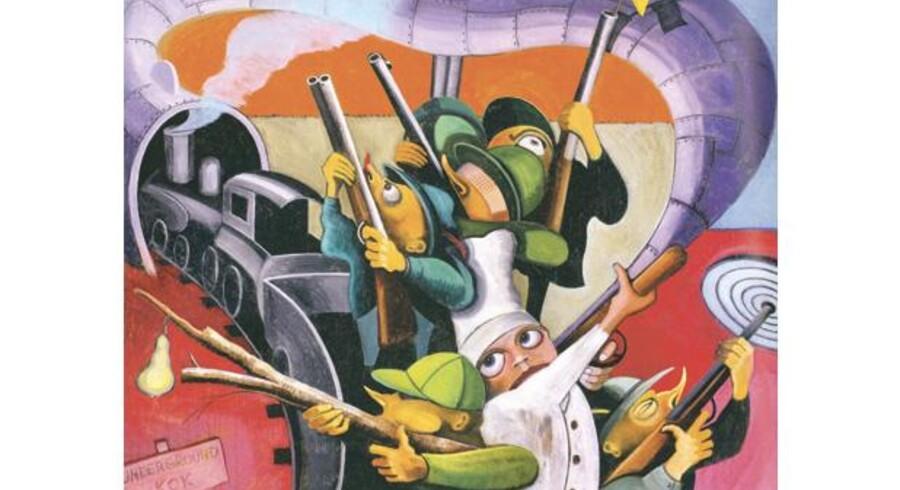 I midten af 1990erne var Lars Nørgård inde i en figurativ periode med tydelige absurde elementer. Maleriet hedder »Underground Kok« og indgår i den retrospektive udstilling på kunstmuseet i Aalborg. Foto fra kataloget.