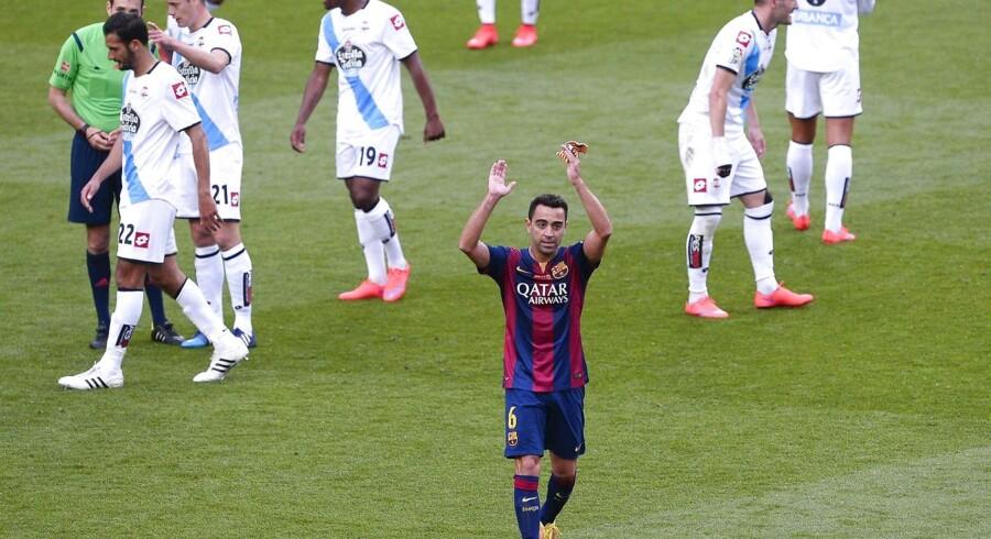 FC Barcelonas Xavi sagde farvel med 2-2 mod Deportivo La Coruña - og sit mesterskab nummer otte med katalanerne.