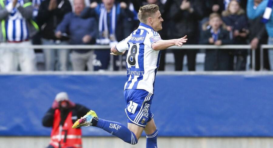 IFK Göteborgs danske kantspiller Søren Rieks jubler efter sejrsmålet til 2-1 på Gamla Ullevi.