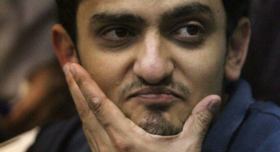 Wael Ghonim under et møde på Tahrir-pladsen i Cairo 8. februar.