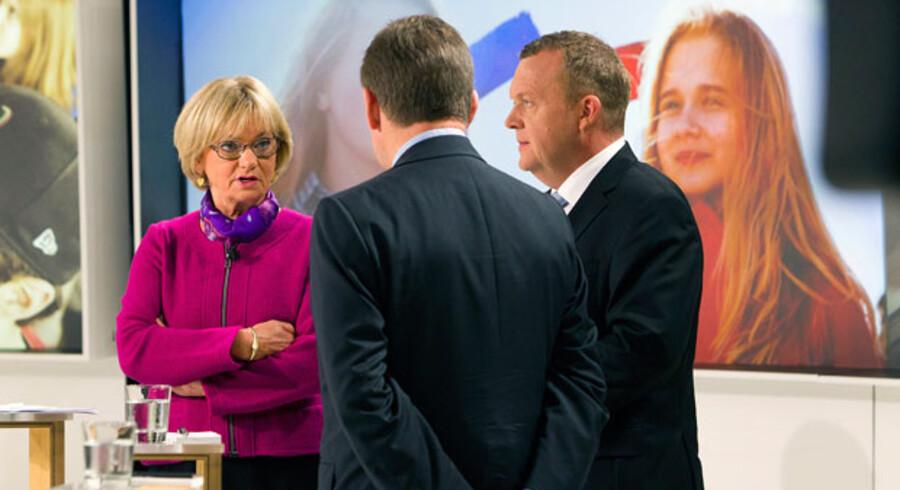 Pia Kjærsgaard var garant for den regering, som bestod af Lars Løkke Rasmusens (th.) og Lars Barfoeds (i midten) partier. Men nu vil Dansk Folkeparti ikke længere støtte en regering med deltagelse af de Konservative.
