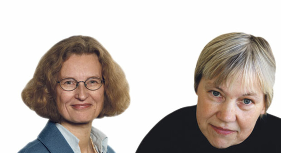 Sigrid Jørgensen, formand for MP Pension og Ingrid Stage, formand for Dansk Magisterforening.