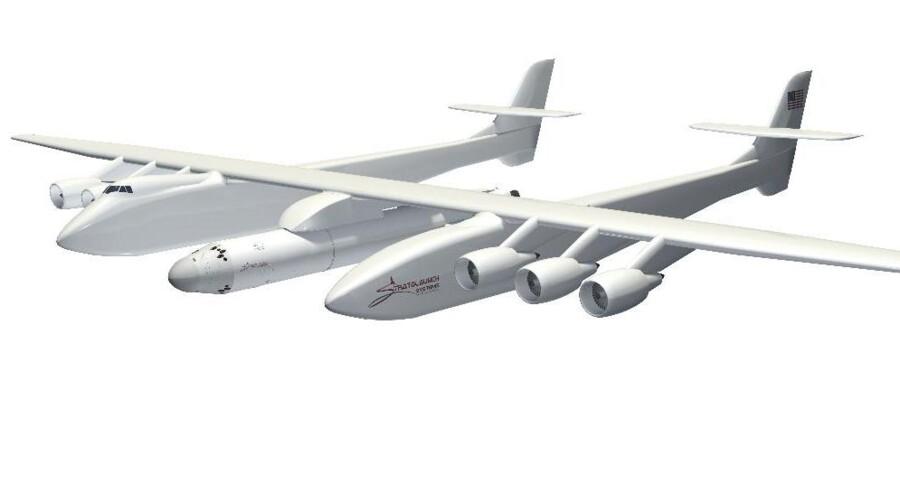 Sådan forestiller holdet sig bag Stratolaunch, at gigantflyet med dets rumkapsel skal se ud. Foto: Stratolaunch