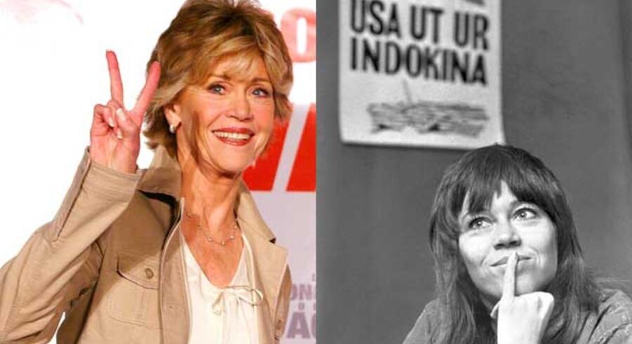 Jane Fonda som aktivist i 1972 - og nu som 73 årig forfatter.