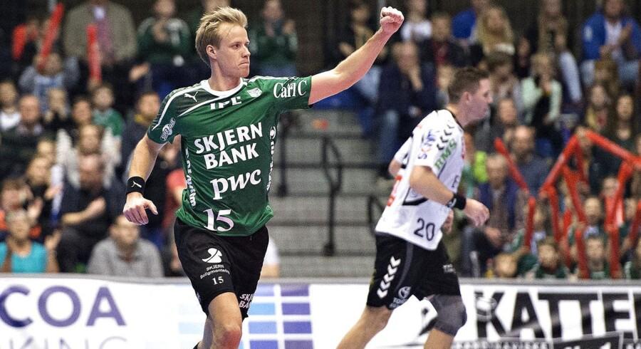 Final 4 - Finale , Team Tvis Holstebro - Skjern Håndbold , Gigantium Aalborg: Skjerns Lasse Mikkelsen jubler