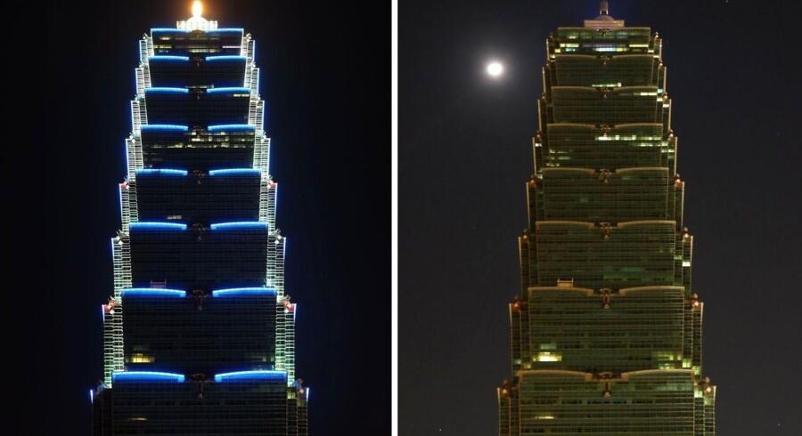 Bygningen Taipei 101 slukkede lyset under Earth Hour i Taipei 28. marts.