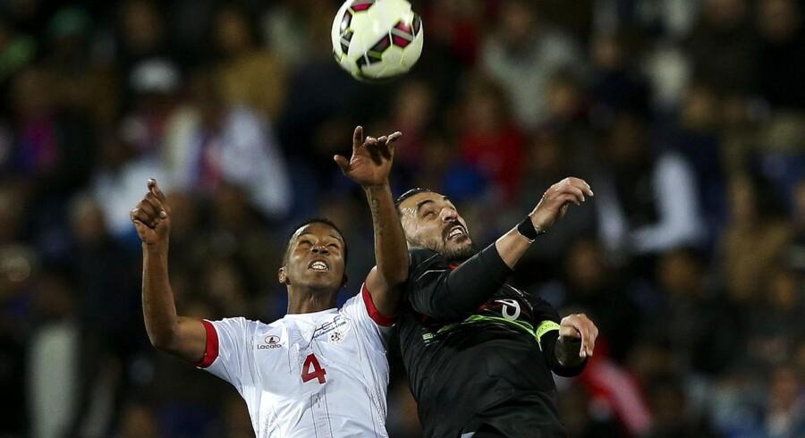 Hugo Almeida (th) og Portugal tabte hjemme 0-2 til Kap Verde.