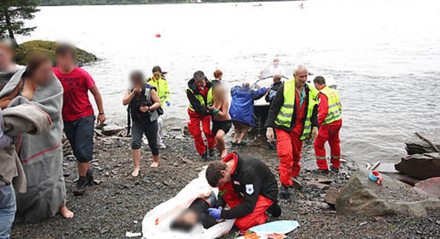 Skudofre fra massakren på Utøya i Norge.