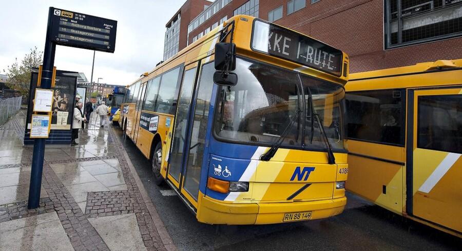 Arkivfoto af busser i Aalborg - mange linjer holder lige nu stille på grund af en strejke blandt chaufførerne.