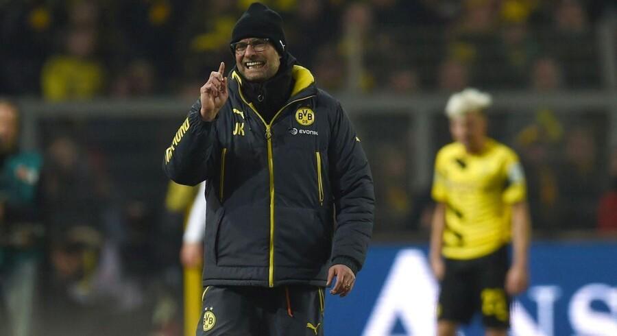 Jürgen Klopp er jublende lykkelig efter Dortmunds 4-2-sejr over Mainz og Kasper Hjulmand.