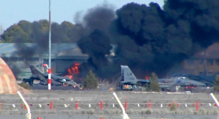 Smoke rises after a Greek F-16 fighter plane crashed during NATO training at the Albacete air base in Albacete in this still image from a January 26, 2015 video. Ten people were killed and another 13 people were injured after the aircraft crashed shortly after taking off at the training centre in Albacete on Monday, a spokesman for the defence ministry said. REUTERS/RTVE (SPAIN - Tags: DISASTER TRANSPORT MILITARY POLITICS TPX IMAGES OF THE DAY) SPAIN OUT.NO COMMERCIAL OR EDITORIAL SALES IN SPAIN