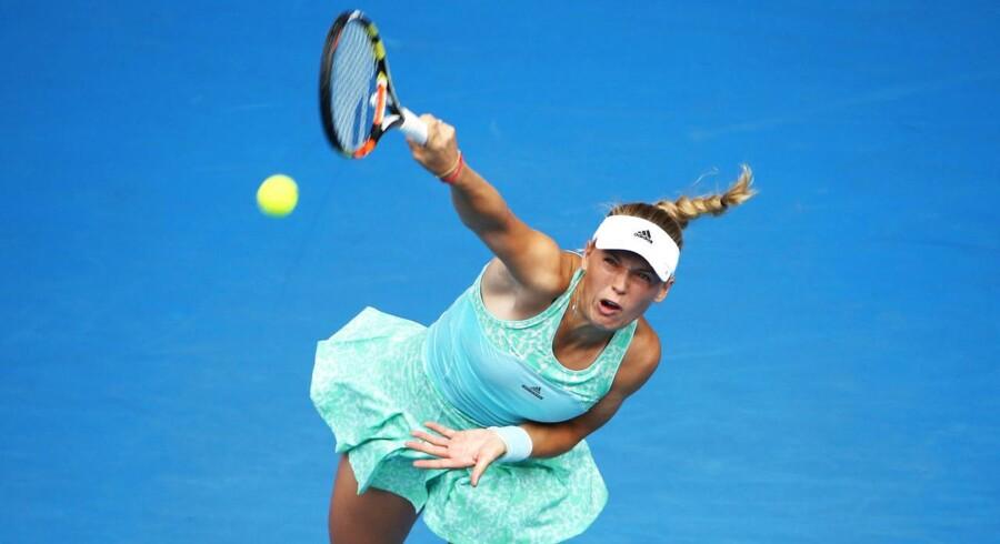 Wozniacki i aktion ved Australian Open på Melbourne Park